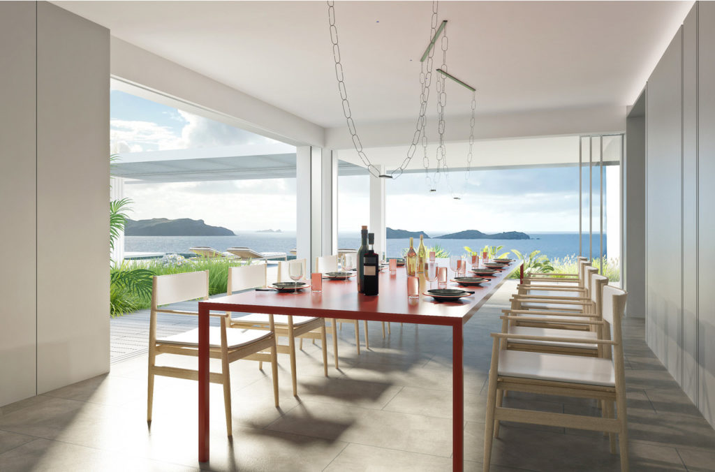 villa domingue st barths dinner table