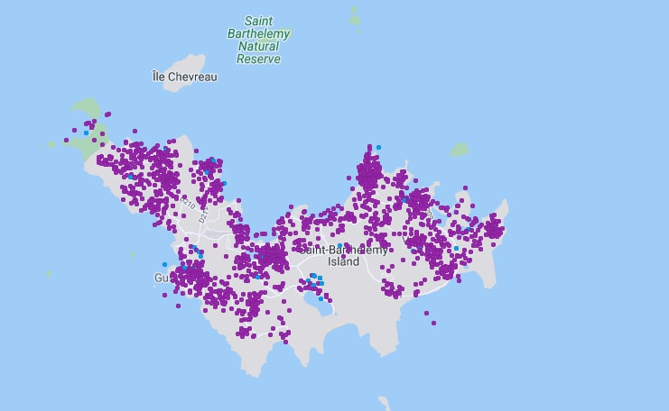Map of all the St Barths villas listed on Airbnb and Vrbo (source: AirDNA)